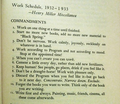 Henry Miller's Writing Commandments