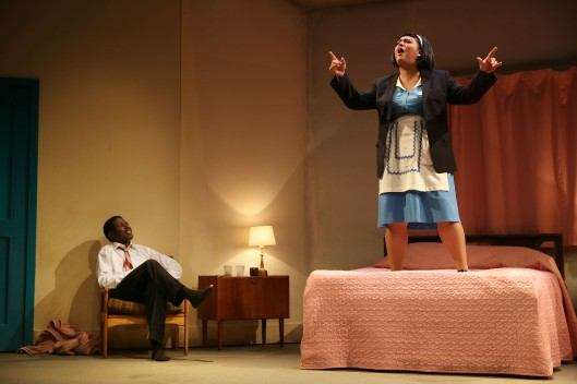 Candy Bowers as Camae and Pacharo Mzembe as Dr Martin Luther King in QTC's The Mountaintop  shot by Rob Mccoll